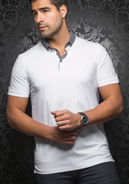 Au Noir black white polo shirt with grey contrasting collar
