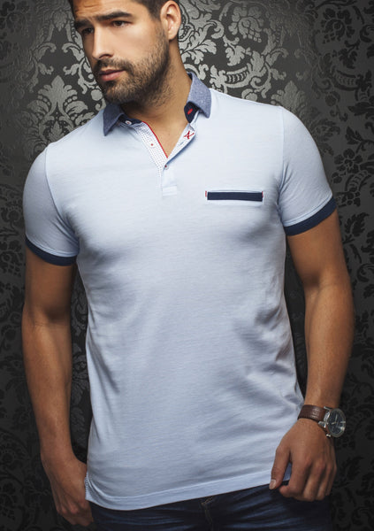 light blue polo shirt with front pocket designed by Au Noir shirts