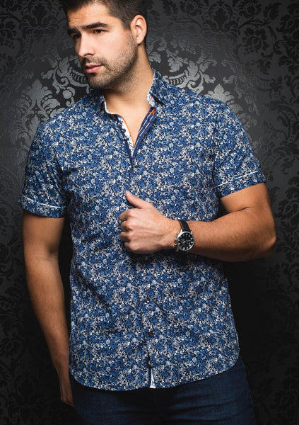 navy blue short sleeve shirt from the Au Noir shirts spring 2019 collection