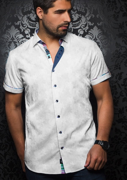 White short sleeve shirt by designer Au Noir shirts - Bonito SS white