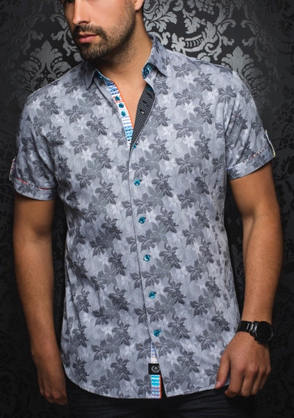 charcoal black floral short sleeve shirt for men by Au Noir shirts - Bonito SS black
