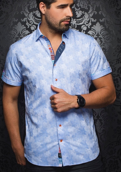 floral light blue short sleeve shirt for men by Au Noir shirts - Bonito SS light blue