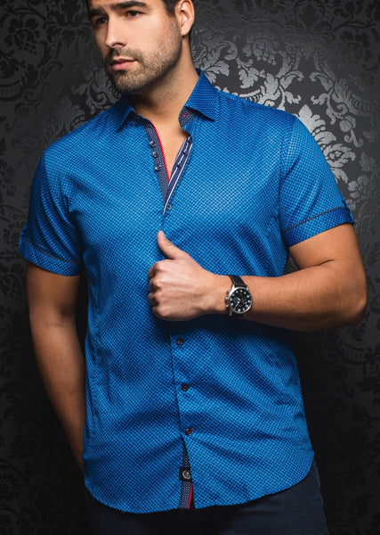 Royal blue short sleeve shirt designed by Au Noir shirts presented by Modus Man