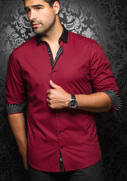 Red long sleeve Au Noir shirt for men