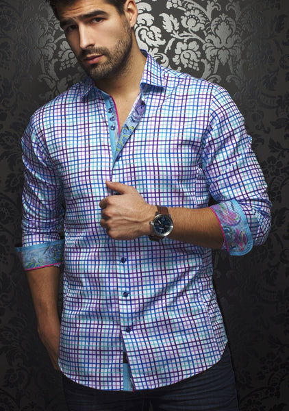 white purple turquoise plaid shirt for men designed Au Noir shirts