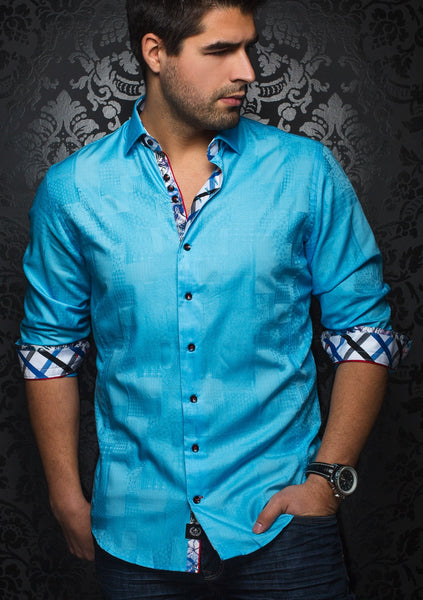 Au noir turquoise dress shirt for men - CORONADO JACQ_ocean