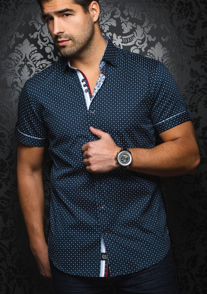 navy_blue_short_sleeve_shirt_for_men_by_Au_Noir_shirts