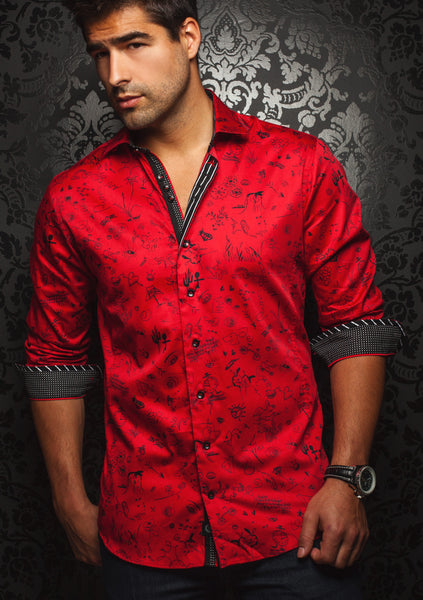 Au_Noir_red_long_sleeve_sleeve_shirt _for_men