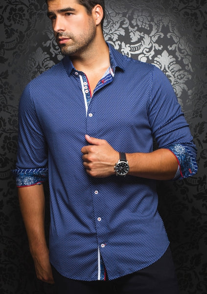 Navy shirt for men designed by Au Noir shirts