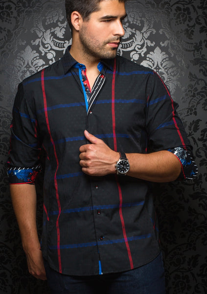 black check shirt with red and blue lines designed by Au Noir shirts