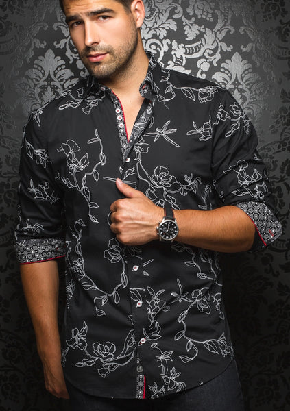 black floral shirt from Au Noir shirts