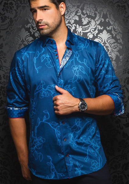 blue with turquoise floral long sleeve shirt for men by Au Noir shirts