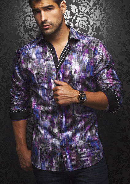 a funky purple and black mens dress shirt from Au Noir shirts ESCOBAR PRINT PURPLE BLACK