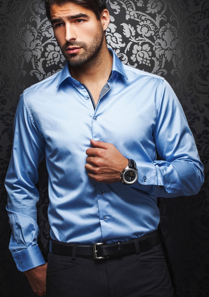 light blue long sleeve luxury shirt for men by Au Noir shirts