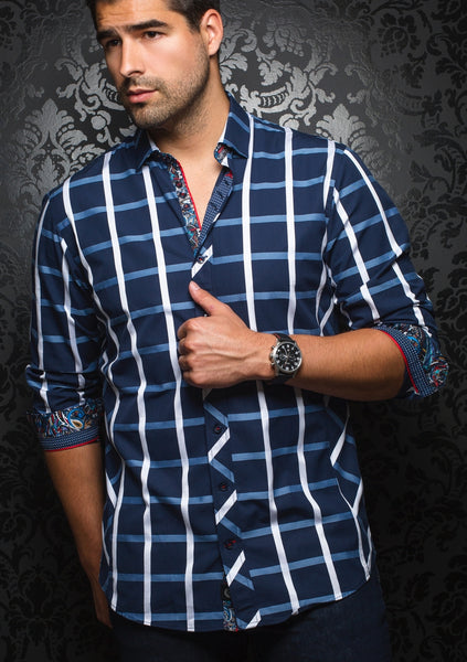 au noir long sleeve navy check shirt with white line