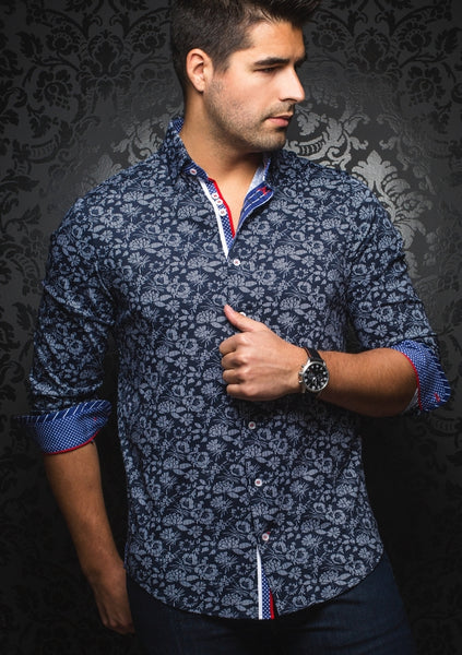 navy floral shirt from Au Noir shirts