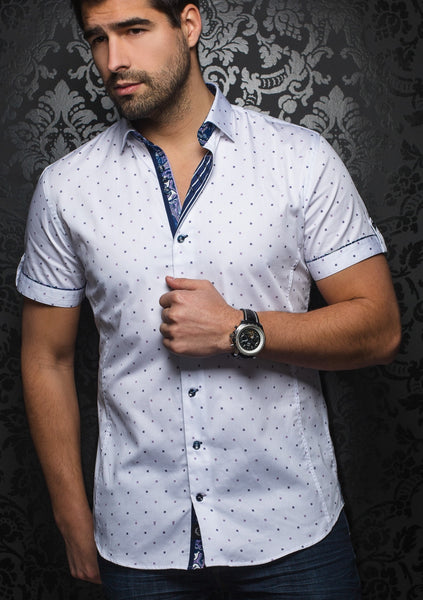 Au_Noir_white_purple_slim_fit_short_sleeve_shirt_for_men
