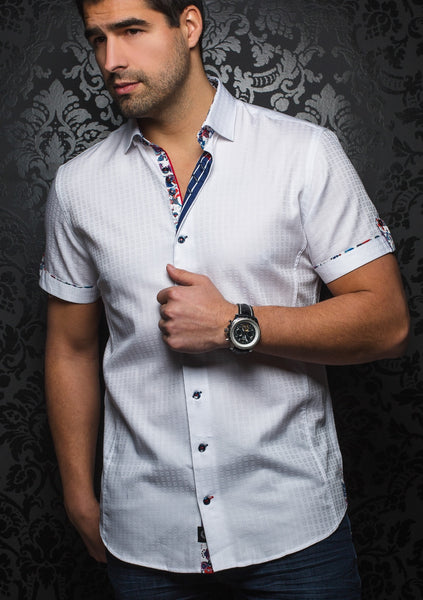 white short sleeve dress shirt for men by Au noir - Malibu white