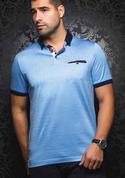 light blue polo shirt from Au Noir spring 2019 collection
