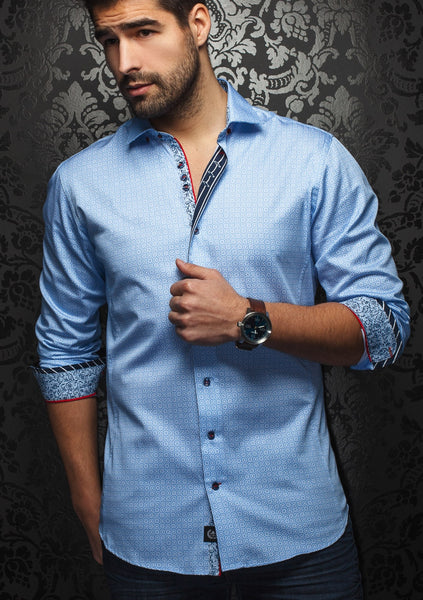 light blue long sleeve shirt for men by Au Noir shirt-Frederic Light blue