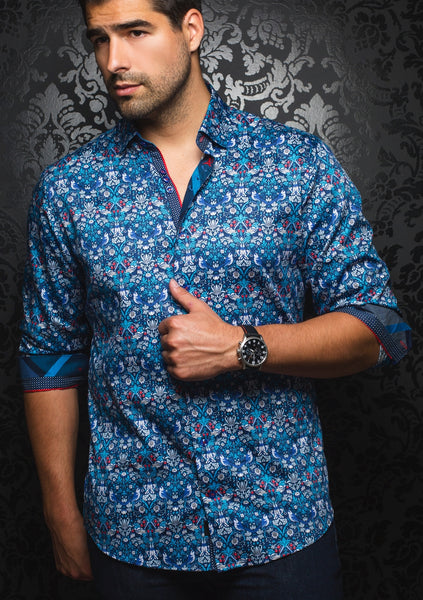 Blue floral shirt designed by Au Noir shirts