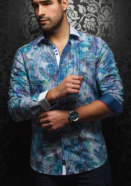 Au noir shirt shirt with white contrasting collar PARADISIO blue