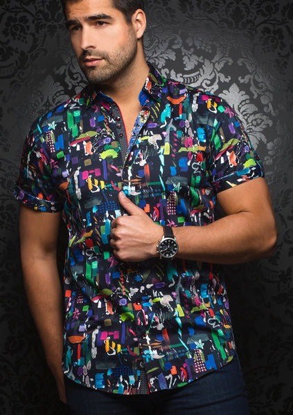 Au NOir funky black short sleeve shirt presented by Modus Man