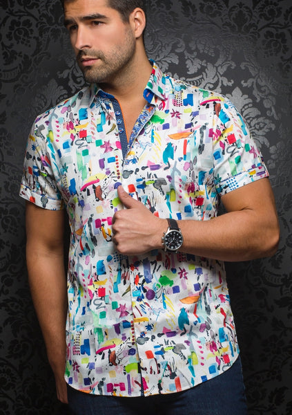 Au NOir funky white short sleeve shirt presented by Modus Man