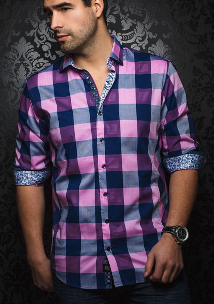 Navy_pink_long_sleeve_check_shirt_by_designer_Au_Noir_shirts