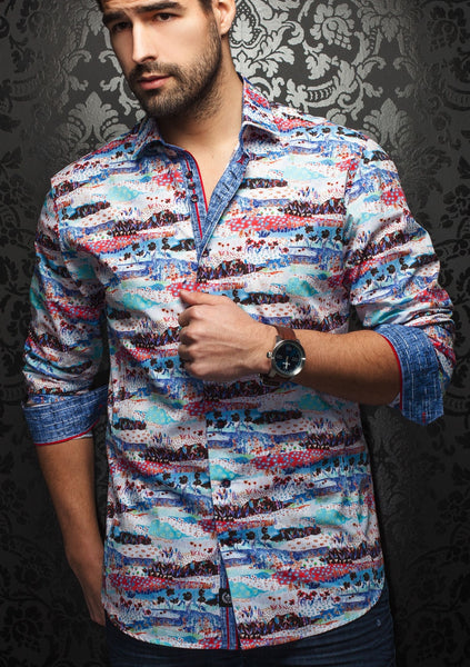 An Au Noir dress shirt for men with a funky abstract pattern in various colors