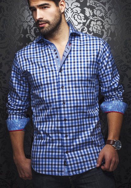 Blue plaid shirt for men designed by Au Noir shirts