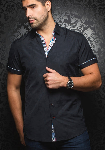 Au Noir black short sleeve shirt presented by Modus Man
