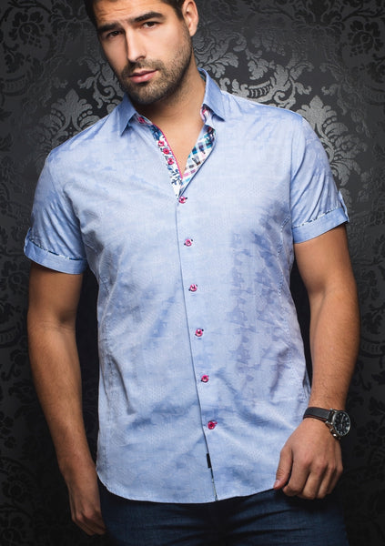 libght blue short sleeve Au noir shirts presented by Modus Man