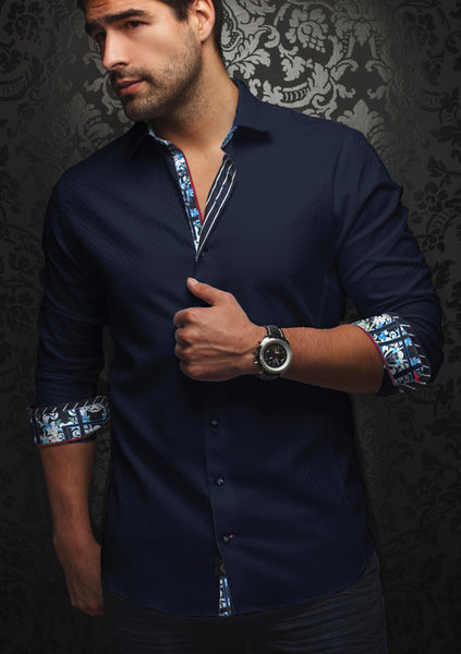 Au_Noir_navy_blue_long_sleeve_sleeve_shirt _for_men