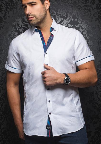 Au Noir white short sleeve shirt presented by Modus Man