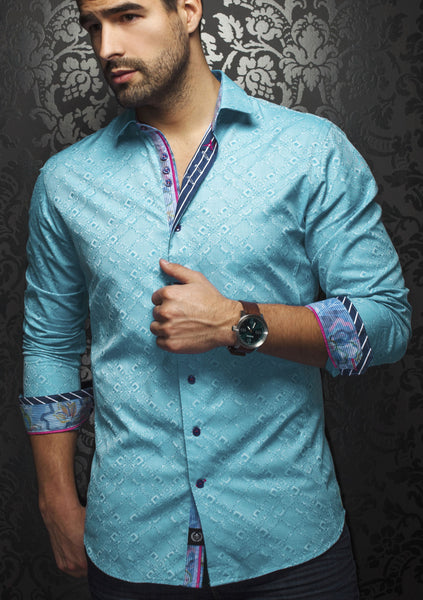 turquoise dress shirt for men with a geometric pattern designed by Au Noir shirts