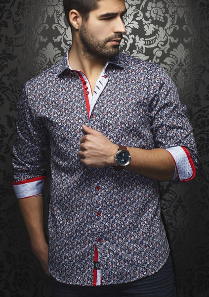 Au Noir floral red black mix shirt made with premium European cotton