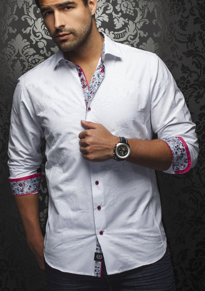 white jacquard floral shirt with floral trim by Au Noir shirts sold by Modus Man