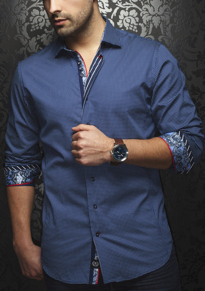 Au Noir navy shirt with blue and white geo print Cut in a slim fit