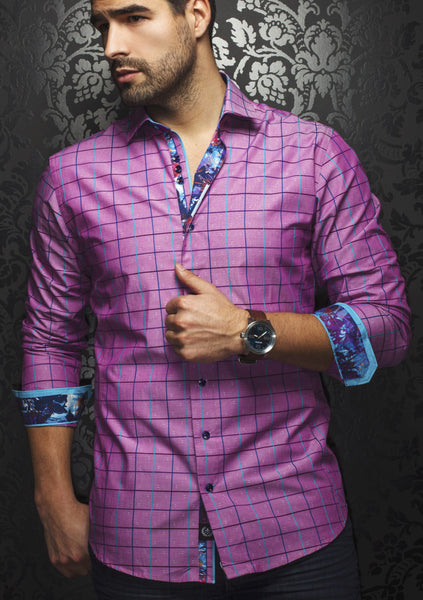 Raspberry color plaid shirt designed by Au Noirs shirts cut in a slim fit