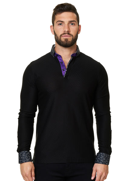 long sleeve black polo shirt with a dress shirt collar designed by Maceoo shirts