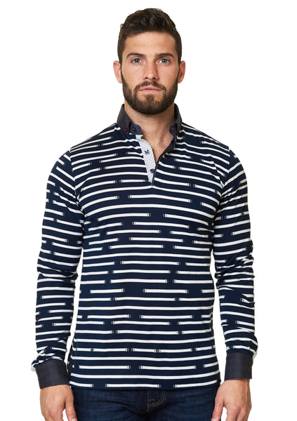 navy and White long sleeve polo shirt with a dress shirt collar and cuff designed by Maceoo shirts