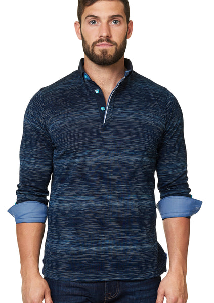 blue navy turquoise long sleeve polo shirt with dress shirt collar and cuff