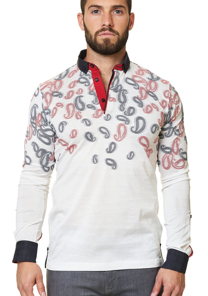 paisley white long sleeve polo shirt with a dress shirt collar and cuff designed by Maceoo shirts
