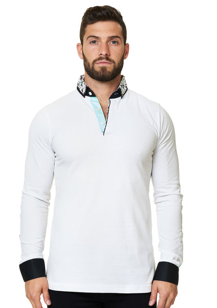 White long sleeve polo shirt with a dress shirt collar and cuff designed by Maceoo shirts