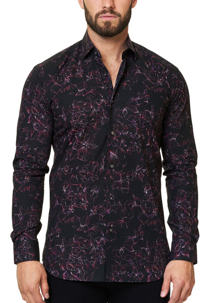 Black dress shirt for men with Fuchsia webprint from Maceoo shirts - Luxor Shuttered Fushia