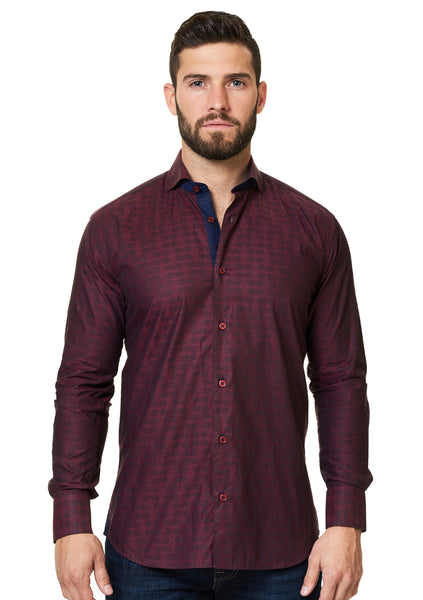 Maceoo Burgundy luxury shirts for men Wall Street Sok