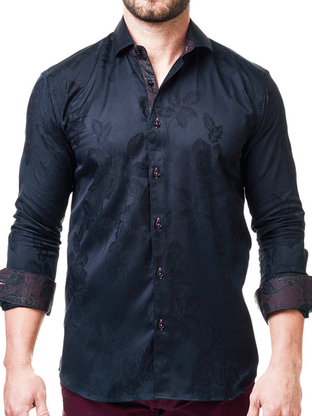 Maceoo mens dress shirts Class Flower Black