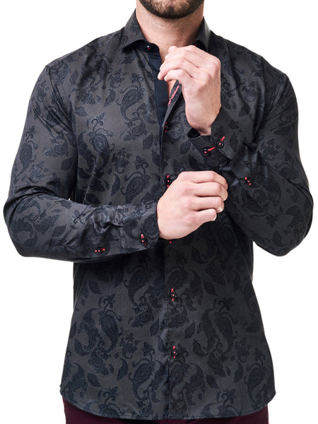 Maceoo mens dress shirts Class Paisley Print Black