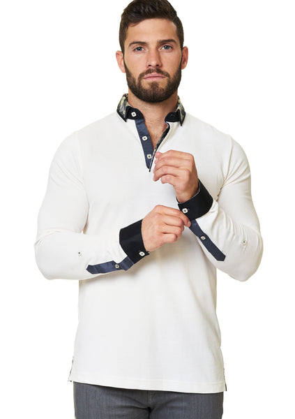 creme color long sleeve polo shirt with a dress shirt collar and cuff designed by Maceoo shirts